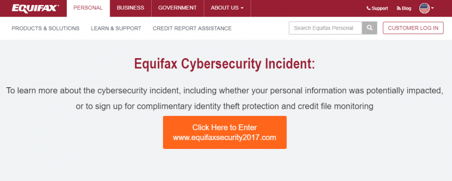 Equifax incident screenshot